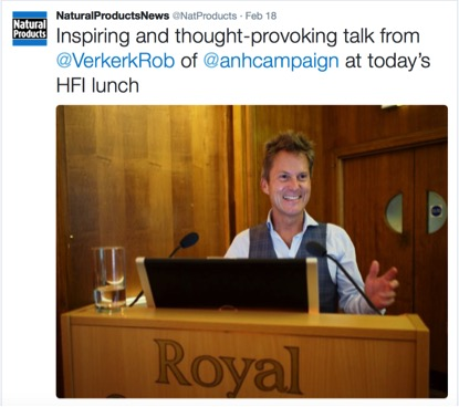 Robert Verkerk giving a talk at HFI lunch on Twitter